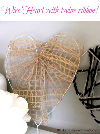 DIY Wire Heart with Twine Ribbon