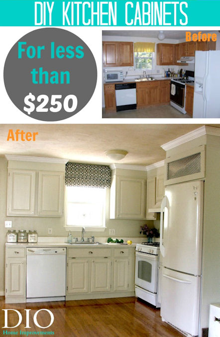 Budget Kitchen cabinet makeover for less than $250.00
