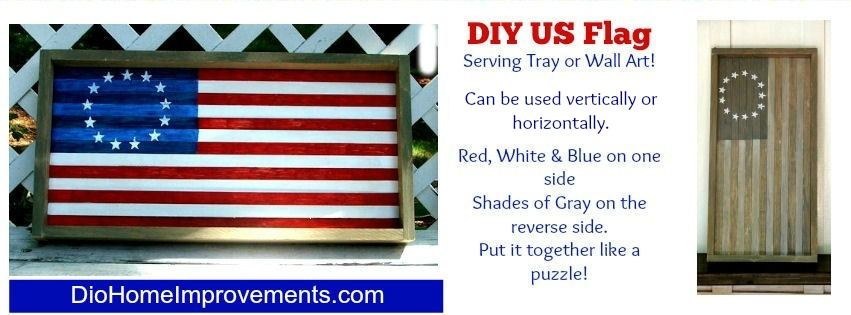 DIY Reversible US Flag Serving Tray / Wall Art.  Weathered Gray on one side, Red, White & Blue on the reverse.  Can be used vertically or horizontally.