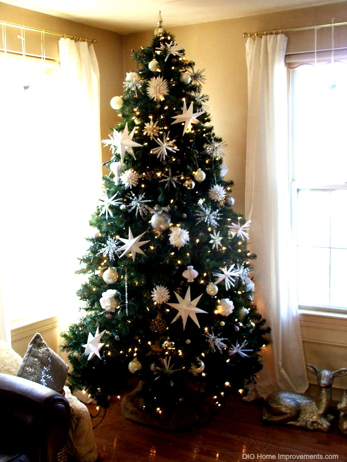 DIY Christmas Projects, White & Silver Tree with handmade ornaments