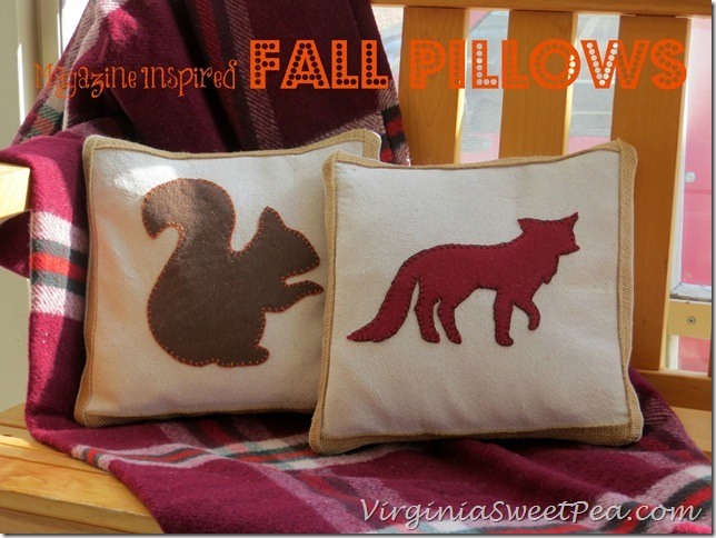 Fall Projects, Magazine Inspired Pillows, squirrel and fox pillow