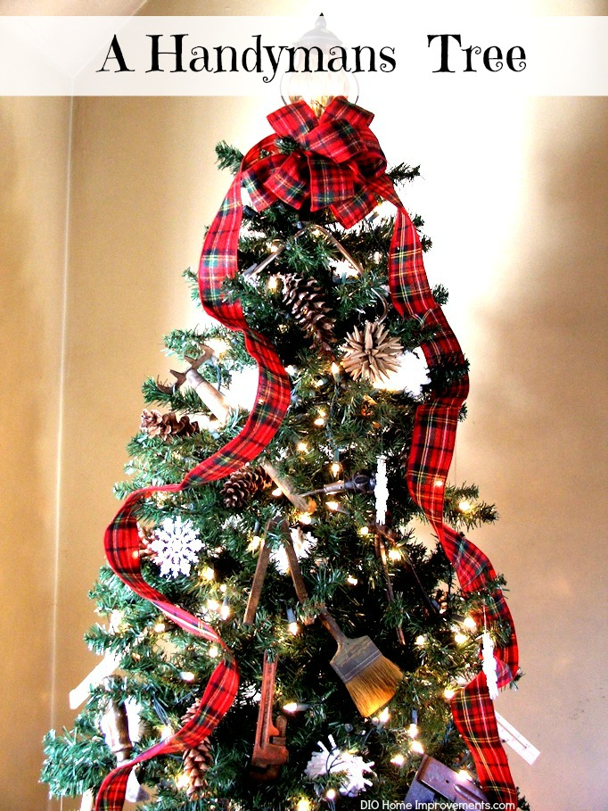 DIY Christmas Projects, A Handyman's tree decorated with tools topped with a garden lantern