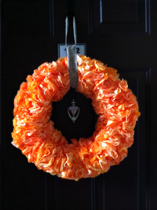 Fall Decorating, Orange Coffee Filter Wreath