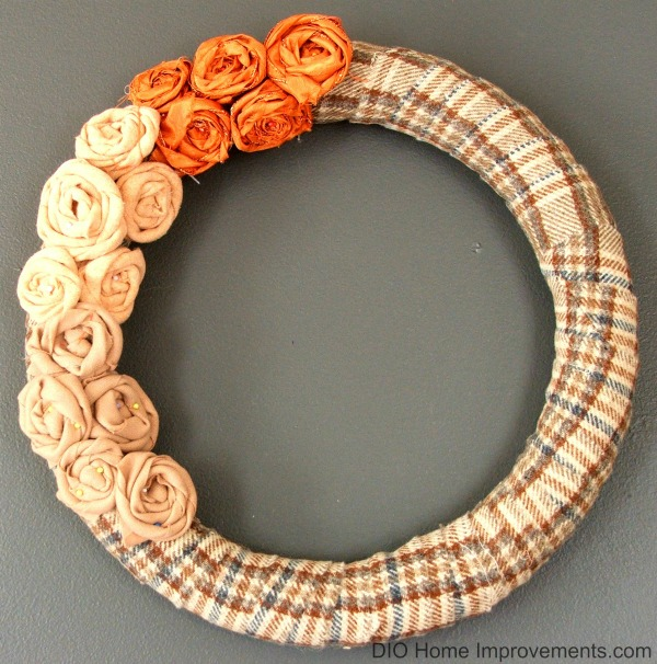 DIY Plaid Fall Wreath with Rosette Flowers