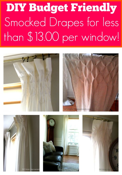 DIY Smocked Curtains make from Sheets & Drop Cloths