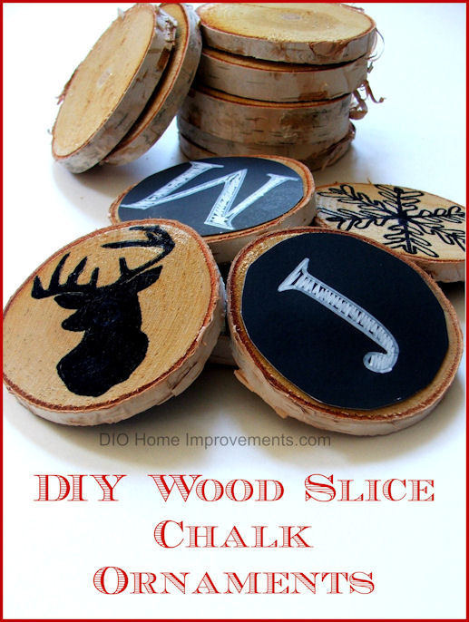 DIY Wood Slice Chalk Ornaments - Secret Santa Blog Tour