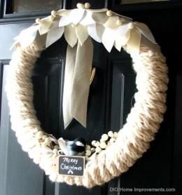 Wool Felt, Finger Knitted, Chickadee Wreath