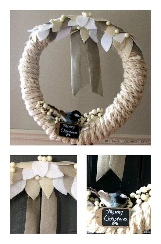 DIY Finger knitting yarn chickadee wreath