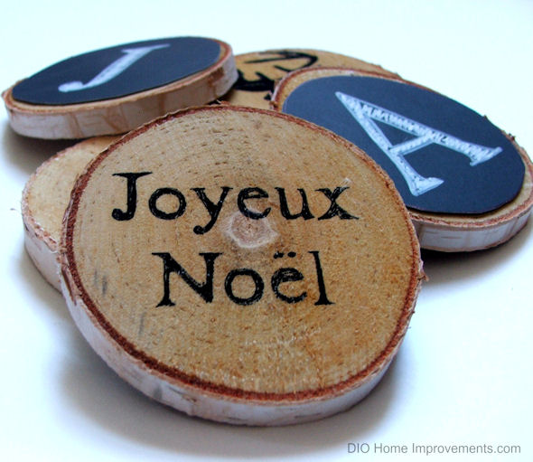 DIY Wood Slice Chalk Ornaments