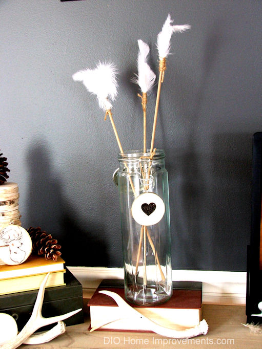 DIY Arrows & Quivers , Subtle Valentines Decor, Industrial Farmhouse Valentines, DIY Valentines.  Glass Quiver